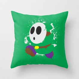 Green Shy Guy Splattery Design Throw Pillow