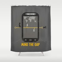 politics Shower Curtains featuring Mind the Media by Schwebewesen • Romina Lutz