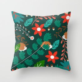Hedgehogs, flowers and leaves Throw Pillow