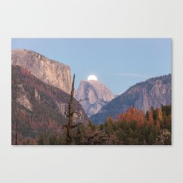The super moon is rising in Yosemite Valley Canvas Print