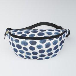 Large Indigo/Blue Watercolor Polka Dot Pattern Fanny Pack
