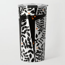 Black leaves on abstract background Travel Mug