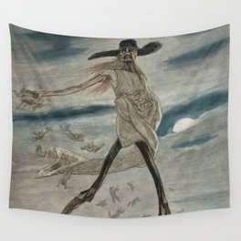 Satan Sowing Tares amid Seine & Paris - Satan sement l'ivraie by Félicien Rops Wall Tapestry