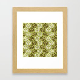 Mid Century Modern Flower Pattern Chartreuse and Brown 112 Framed Art Print