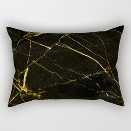 Black Beauty & Gold Marble, Luxe Graphic Design, Exotic Digital Photography Texture Rectangular Pillow