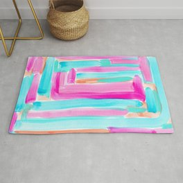 It's Your Life pastel color stripes modern art abstract painting lines pattern minimalist Rug