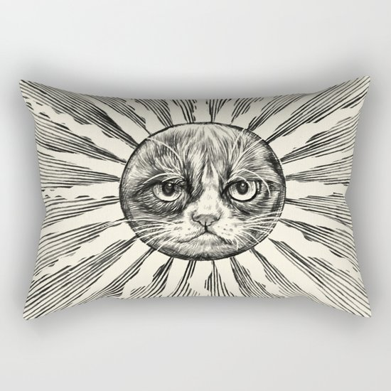 Grumpy Face in Sun Rectangular Pillow