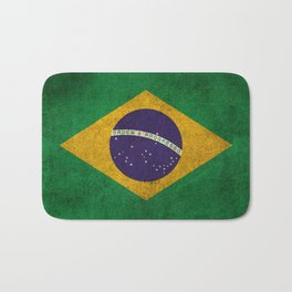 Old and Worn Distressed Vintage Flag of Brazil Bath Mat