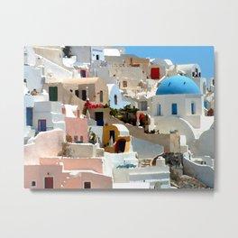 Santorini Cliffside Metal Print