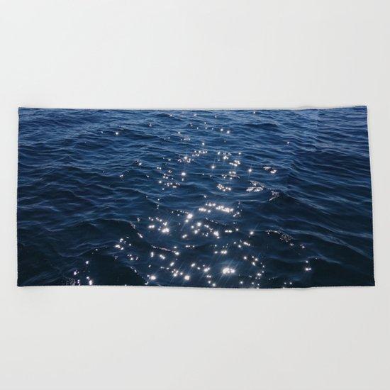 Sparkly Deep Blue Sea Waves Beach Towel