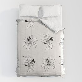 Day Lily Floral Pattern Line Art Comforters
