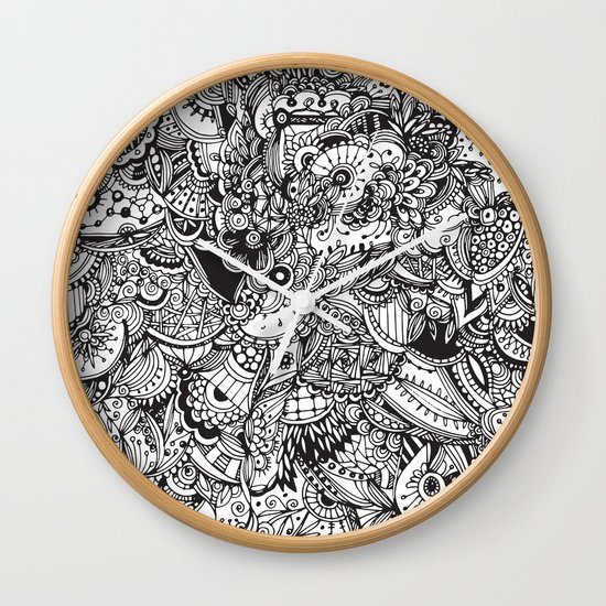 Detailed rectangle, black and white  Wall Clock