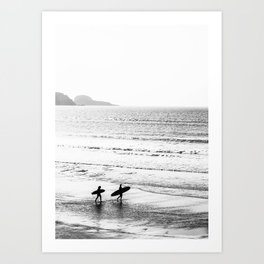 Surfers, Black and White, Beach Photography Art Print