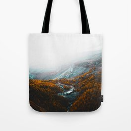 Aerial View Of Orange Autumn Forest Appalachian Mountains Tote Bag