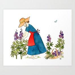 Gardening Lady Art Print