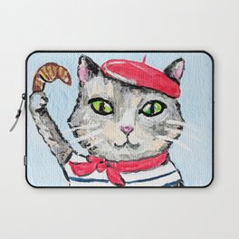 French cat and croissant Laptop Sleeve