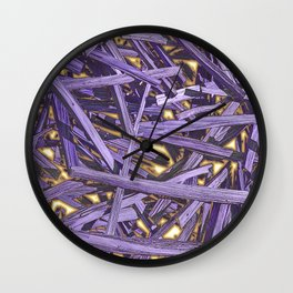 PURPLE KINDLING AND GLOWING EMBERS ABSTRACT Wall Clock