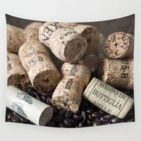 champagne Wall Tapestries featuring COFFEE CHAMPAGNE CORK by CAPTAINSILVA