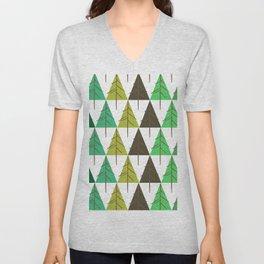 Seamless pattern. Christmas tree. Unisex V-Neck