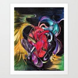 Love is Evol, Brush & Dagger Heart Art Print