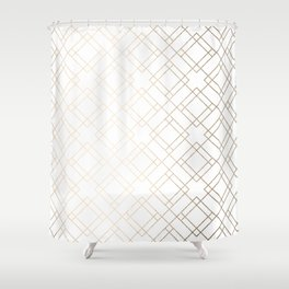 Simply Mod Diamond White Gold Sands on White Shower Curtain