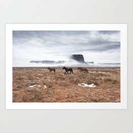 Horses in Monument Valley Art Print