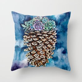 Pine cone and succulents, blue and green flowers, watercolor painting Throw Pillow