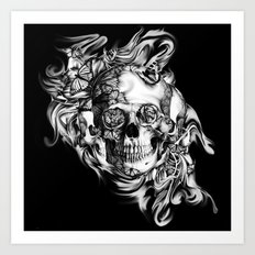 Butterfly smoke skull on black base.  Art Print
