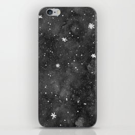Watercolor galaxy - black and white iPhone Skin
