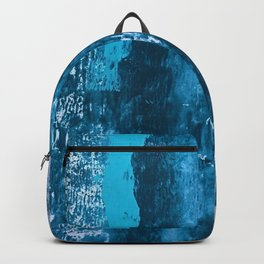 A river runs through it: a minimal, abstract mixed media piece in blue and gold by Alyssa Hamilton Backpack