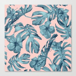 Island Life Teal on Light Pink Canvas Print