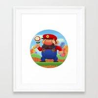mario Framed Art Prints featuring Mario by Gazulo Marquez