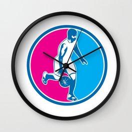 Basketball Player Dribbling Ball Circle Retro Wall Clock