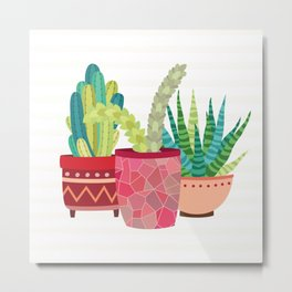 Cactus Trio Metal Print