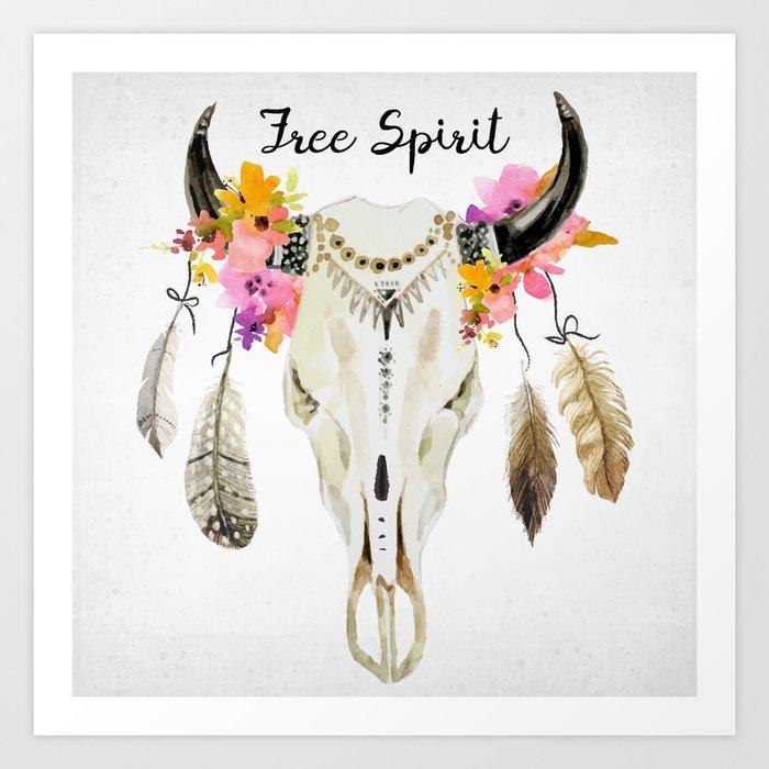 free spirit- tribal skull Art Print