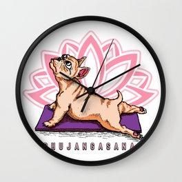 French Bulldog Yoga - Bhujangasana Pose - Funny Dog Wall Clock