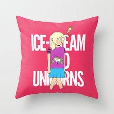 Ice-Cream and Unicorns Throw Pillow