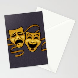 Gold Comedy And Tragedy Theater Masks Stationery Cards