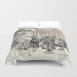 Christmas Trees in the City DPGPA151025c Duvet Cover