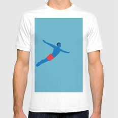 Flying man White MEDIUM Mens Fitted Tee