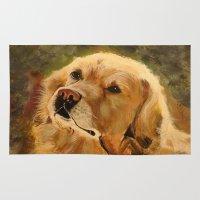 golden retriever Area & Throw Rugs featuring Golden Retriever by Tidwell