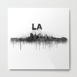 Los Angeles City Skyline HQ v5 BW Metal Print