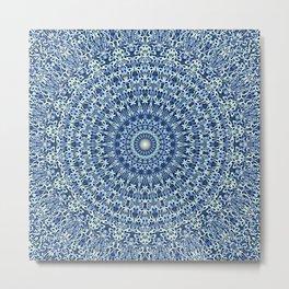 Light Blue Psychedelic Garden Mandala Metal Print