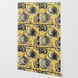 Black and Yellow Floral Wallpaper