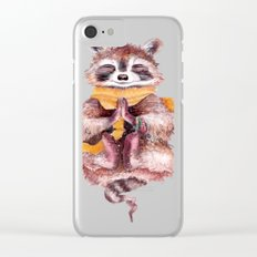 Raccoon meditates Clear iPhone Case