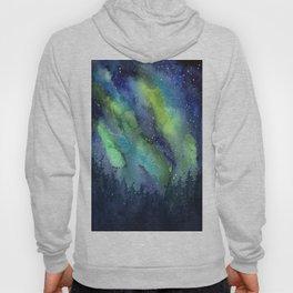 Galaxy Aurora Northern Lights Nebula Space Watercolor Hoody