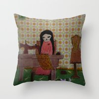 sewing Throw Pillows featuring sewing by a pink dreamer