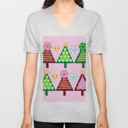 Christmas Trees Bright Delight, Holiday Collection Unisex V-Neck