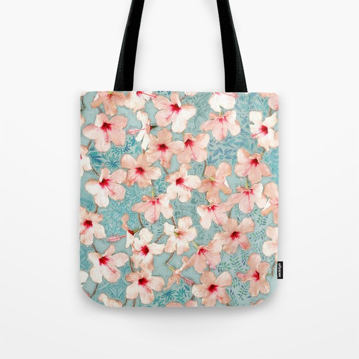 Shabby Chic Hibiscus Patchwork Pattern in Peach & Mint Tote Bag