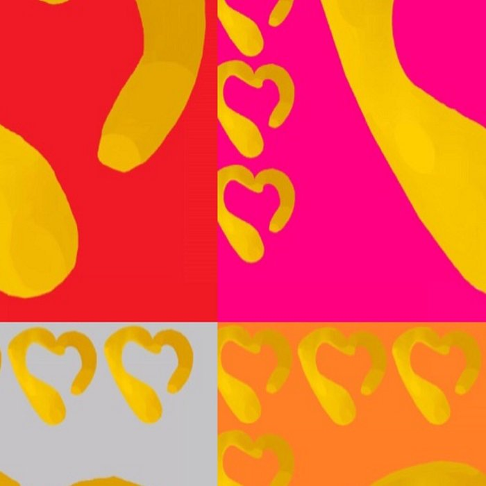 Gold Hearts on colorful Stamp Leggings